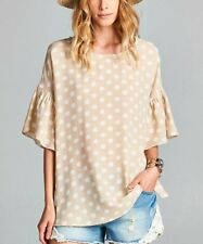 WOMEN'S POLKA DOT BELL SLEEVE TUNIC TAUPE TOP BLOUSE BY LOVE KUZA SMALL