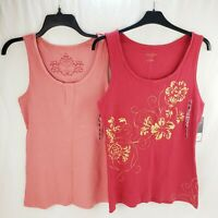 Women's Ribbed Sleeveless Tank Top Set of 2 Colors Red Pink Large by Sonoma New