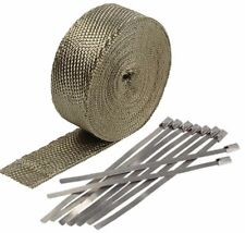 "2"" 50Ft Titanium Header Exhaust Heat Wrap +8 Ties Kit High Heat Fiberglass"