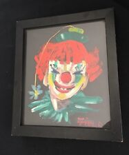 Reverse Clown  Painting on Glass Signed Field
