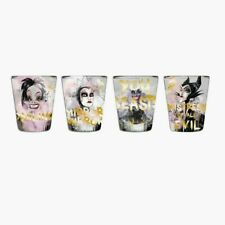 Disney Villains Glass Shot Glasses Box Set of 4 Mini 1.5 Oz. Maleficent Ursula +