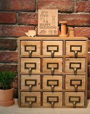 Shabby chic vintage rustique 12 tiroirs en bois rangement bureau tidy poitrine 35x15x34cm