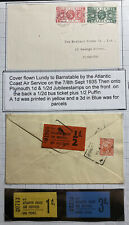 1948 Lundy Channel Island England Airmail Cover To Plymouth With Bus Tickets