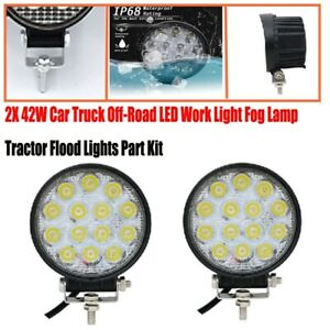 2X 42W Car Truck Off-Road LED Work Light Fog Lamp Tractor Flood Lights Kit IP68
