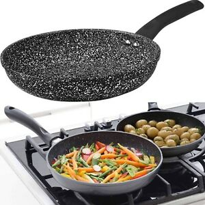 Fry Pan Non Stick Frying Pan Cookware Marble Coated Gas Electric Induction Hob