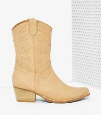 dc4265e3a60 Jeffrey Campbell Plano Leather Cowboy Boot Tan Sz 6 Nasty Gal