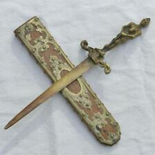 "Vintage ""knight in armor"" cast bronze letter opener knife; made in BELGIUM"