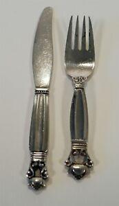 1910-25 Sterling 925 Georg Jensen Acorn Pattern Infant/Baby Fork & Knife 39.54g