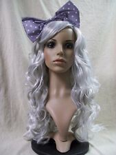 Mixed Gray Cosplay Doll Wig Bow Manga Comic Book Kawaii Anime Rave Party Cosplay