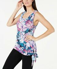 Ideology Womens Hibiscus Printed Side-Tie Tank Top  Multi-Colored X-Large