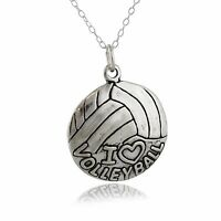 I Love Volleyball Necklace - 925 Sterling Silver - Sports Ball Team Heart NEW