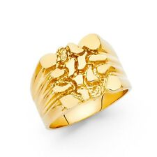 Huge Heavy Men Nugget Ring Band Solid 14k Yellow Gold