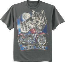 Biker Lone Wolf T-shirt Mens Graphic Tee Wolves Motorcycle Clothing Apparel