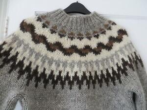 Vtg Icelandic hand knit scandi lopapeysa alafoss lopi grey wool jumper women 6 8
