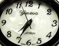 Platinum MOP Brown Hinged Cuff Bangle Bracelet New Batt Runs Woman Geneva Watch