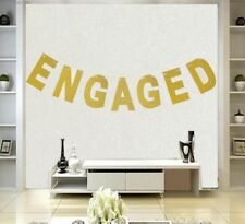 Engaged Gold Glitter Banner Bunting Elegant Engagement Decorations 14.5cm