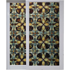 3D Floral Stained Glass Stickers Static Cling Opaque Window Door Films No Glue