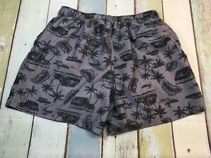 Ocean Pacific OP Men's Swim Trunk  Size XL Hawaiian Gray / black with Pockets