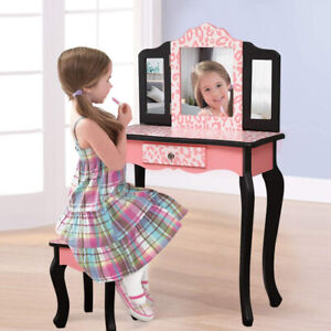 Kids Girls Gift Vanity Table & Chair Set W/ Mirror Makeup Dressing Table