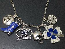 "Western Cowboys Star Boot Hat Shamrock Dallas Charm Tibetan Silver 18"" Necklace"