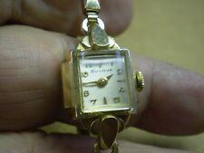 Vintage Bulova Womens Gold Plated Mechanical Wind Wrist Watch Runs