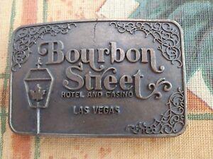 VINTAGE BOURBON STREET HOTEL AND CASINO LAS VEGAS BRASS BELT BUCKLE