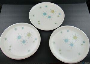 "3 Vintage Franciscan Atomic Starburst 10-7/8"" Dinner Plates"