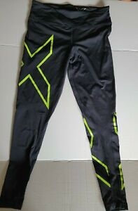 2XU  Compression Tights Women's Mid-Rise Black And Green Reflective Size L.