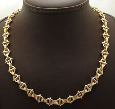 """18"""" Technibond Modified Oval Link Chain Necklace 14K Yellow Gold Clad Silver HSN"""