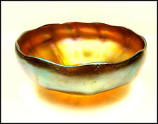 Louis Comfort Tiffany Hand Blown Favrile Glass Bowl Signed Gold Antique Artwork