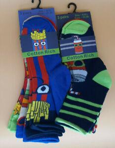 Pack 3 Boy's socks Food designs Burger/chips/popcorn, cola/hotdog/pizza, 3 sizes