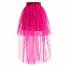 Women Half Bustle Tutu Mesh Sheer Long Skirt Burlesque Petticoat Rockabilly Chic