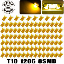 100X Amber Yellow T10 8SMD LED Dome Map Instrument Panel Light Bulbs 192 168 194