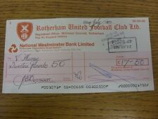 22/07/1983 Rotherham United: Official Club Cheque - payable to Vera Murray [Lanu