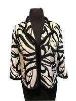 Ming Wang Black & White Knit One Hook Jacket Cardigan Chain Detail Size Petite M