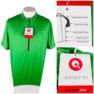 Spotti Mens 2XL Cycling Jersey Green 3 Rear Cargo Pocket Half Zip Polyester NWT