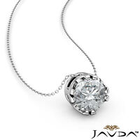 0.25ctw. Solitaire Round Diamond U Cut Double Prong Floating Pendant Necklace