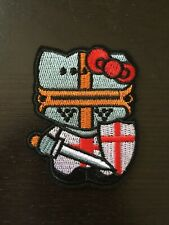 "HELLO KITTY CRUSADER KNIGHT EMBROIDERED IRON ON /SEW ON PATCH 2.5"" X 3"""