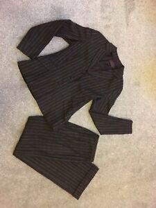 Reiss Size 10 Wool Blend Ladies Trouser Suit Brown Chalk Stripe / Pin Stripe