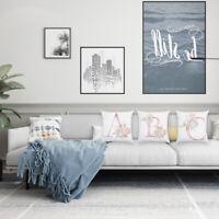 Home Alphabet Floral Print Pillow Case Sofa Throw Cushion Cover Christmas Decor