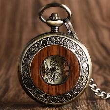 Luxury Men's Wood Circle Retro Mechanical Chain Hunter Traveller Pocket Watch