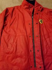 Ferrari Men's Sz XL Red Hooded Wind Rain Jacket Fleece Lined