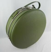 "Vintage Mid Century Luggage ~ Fliteway Round Hard Shell Suitcase ~ 17"" x 17"" x6"""