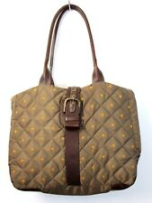 LRG EDDIE BAUER DOWN QUILTED OLIVE NYLON BROWN GENUINE LEATHER TOTE SHOULDER BAG