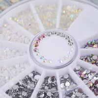 4 Colors Charm Gems Crystal Glitter Rhinestones 3D Nail Art Tips DIY Decor Wheel
