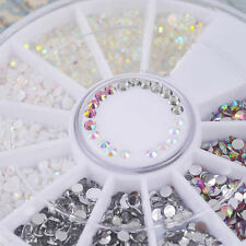 Charm Colors DIY Nail Art Tips Gems Crystal Glitter Rhinestones 3D Decor Wheel