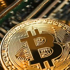 Gold Plated Bitcoin Coin Collectible Art Collection Gift Metal Antique New