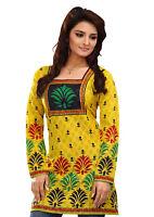 Women Fashion Indian Short Kurti Tunic Cotton Yellow Kurta Top Shirt Dress 69A