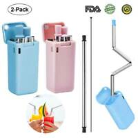 2Pack Collapsible Stainless Steel Food-grade Silicone Drinking Straw Blue+Pink