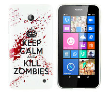 TPU Schutzhüllle f. Nokia Lumia 630 Tasche Case Cover keep calm and Kill Zombies